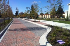 Two different colors of pavers mark driving and parking lanes along the multi-way boulevard.